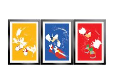Sonic, Tails and Knuckles paint splash art