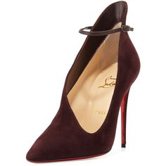 Christian Louboutin Vampydoly Suede Red Sole Half-Bootie ($1,095) ❤ liked on Polyvore featuring shoes, boots, ankle booties, burgundy, burgundy boots, suede boots, suede ankle booties, booties and bootie