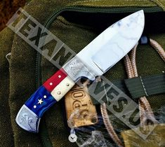 Beautiful Custom Handmade Steel Skinning Knife Texas Handle With Beautiful Hand Engraving With Custom Made Leather Sheath Overall Length inches Handle made Of Bone and Color Wood Damascus Blade, Damascus Steel, Skinning Knife, D2 Steel, Best Hunting Knives, Fillet Knife, Folding Pocket Knife, Handmade Knives, Hand Engraving