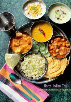 Chickpea Recipes, Veg Recipes, Spicy Recipes, Healthy Recipes, Vegetarian Platter, Vegetarian Meal, North Indian Recipes, Indian Food Recipes, Veg Thali