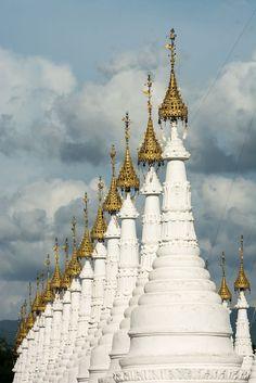 Kuthodaw Pagoda, a Buddhist stupa, in Mandalay, Myanmar (Burma)