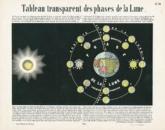 Astronomy Populaire Celestial Tableau transparent des phases de la Lune Phases of the Moon Transparency on verso-hold up to light and moon glow bright! USD $145 Atlas, Lunar Maps & Planets by Ludwig Preyssinger, 1851 #moon #planets #stars #astronomy #art #antiqueprint