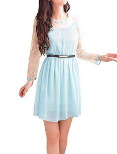 Allegra K - Round Neck Waist Belt Long Sleeve Dress - Light Blue ($12.02)