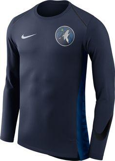301310a3d678 Nike Men s Minnesota Timberwolves Dri-FIT Hyper Elite Navy Long Sleeve Shirt