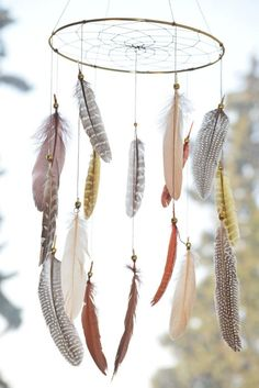 Woodland Nursery Decor, Native American Style, Dreamcatcher Feathers Mobile, Woodland Mobile, Tribal Decor, Natural Feathers.