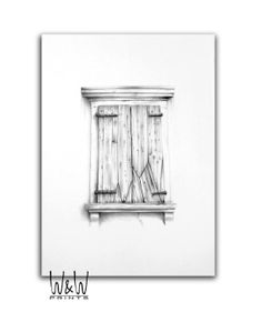 Items Similar To Italian Historic Architecture Old Wooden Window Original Drawing Pencil On Heavy And Textured Paper