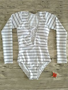 375c14e787c Striped Lace Up Long Sleeve One Piece Swimsuit
