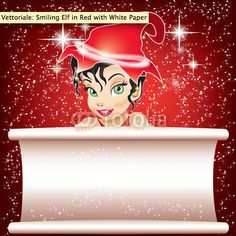 Smiling Elf in Red with White Paper for CHRISTMAS Wishes