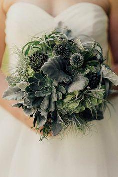 Green succulent wedding bouquet   addison jones photography