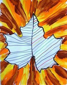 graphisme-dans-une-empreinte-de-feuille-+-lignes-obliques-à-la-peinture-aux-couleurs-de-lautomne. Fall Arts And Crafts, Autumn Crafts, Autumn Art, Autumn Theme, Autumn Activities, Art Activities, Fall Art Projects, Jr Art, Art Lessons Elementary