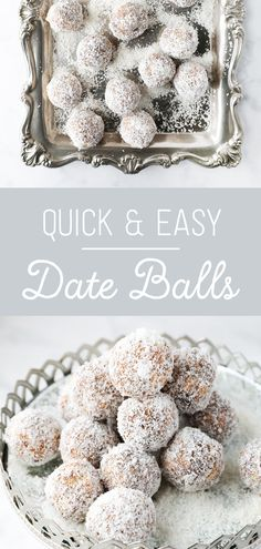 Absolutely delicious date balls. So moreish and a great recipe to make with kids. Pin to your recipe board for later. Kos, Easy Date Balls Recipe, Ramzan Recipe, Healthy Treats, Healthy Recipes, Date Recipes, Recipe Boards, Biscuit Recipe, Dates