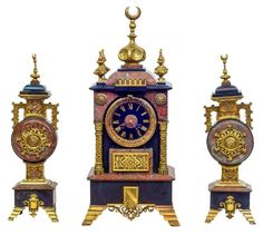 This beautiful continental (likely French) mantel clock garniture crafted from marble and bronze dates from circa 1890.  Clock measures 22 x 10 x 6.75 in (56 x 25 x 17 cm). Please note, we do not...