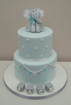 Baby Blue Christening Cake - Baby Blue Christening Cake – cake by The Buttercream Pantry - Elephant Baby Shower Cake, Elephant Cakes, Baby Shower Cakes For Boys, Baby Boy Cakes, Baby Boy Shower, Babyshower Cake Boy, Elephant Cake Toppers, Baby Showers, Baby Boy Christening Decorations