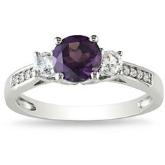 Ice Diamond, Alexandrite, Sapphire 10k White Gold Ring ($415) ❤ liked on Polyvore featuring jewelry, rings, women's accessories, diamond jewelry, sapphire jewellery, white gold jewellery, sapphire rings and white gold diamond rings