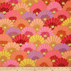 Kaffe Fassett Collective Thousand Flowers Pink from @fabricdotcom  Designed by Kaffe Fassett for Westminster, this cotton print is perfect for quilting, apparel and home decor accents.  Colors include shades of yellow, shades of orange, shades of red, shades of pink and shades of purple.