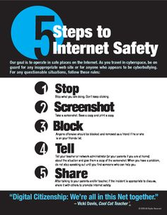 Handout for nonprofit schools to share with students, teachers, and parents about how to be safe online. These were developed to promote online safety and communication with parents and teachers in a rapidly changing landscape of online behaviors. Internet Safety For Kids, Safe Internet, Social Media Safety, Social Skills, Technology Posters, Teaching Technology, Teaching Biology, Teaching Tips, Cyber Security Awareness