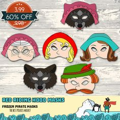 💀 For orders over $7 — 10% OFF. Coupon Code: 7DOLLARS10OFF 💀 What you get: ❄ Little Red Riding Hood Printable Mask ❄ Mother Printable Mask ❄ Grandma Printable Mask ❄ Big Bad Wolf Printable Mask ❄ Wolf Disguised as Grandma Printable Mask ❄ Woodcutter Printable Mask 3 PDF files: Printable Masks, Printables, Mascarade Mask, Red Riding Hood Wolf, Wolf Mask, Horse Costumes, Penguin Love, Little Red, Big Bad Wolf