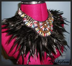 Trashglam LUXE Couture Neck Piece Goddess black feathered neck corset shoulder collar wrap Necklace high fashion couture
