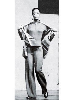 Black Power Dressing - Model Audrey Adams on the runway at the Ebony Fashion Fair, 1976.