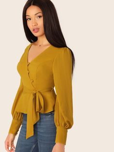 V-Neck Waist Tie Peplum Cuffed Sleeve Blouse Blouse Styles, Blouse Designs, Stylish Jeans Top, African Fashion, Korean Fashion, Corset Sewing Pattern, Fashion News, Fashion Outfits, Casual Work Outfits