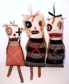 Monsters Lovee Lou, Lula X , and Velouria | Art Doll by Junker Jane