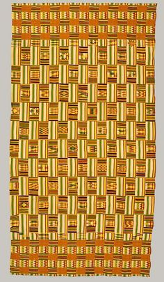 Textile Wrapper (20th century) from Ghana. Kente cloth of rayon, cotton. via the Heilbrunn timeline of Art History, Metropolitan Museum of Art, NYC
