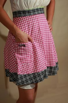 Matching Mommy, Dolly annd Me Pink and Black Checked Half Apron Set