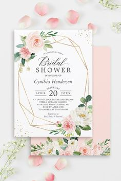 """""""Blush Pink Flowers with modern frame"""" is one of the most popular theme for Bridal and Baby Showers. We created amazing custom invitation designs offering a fully coordinating wedding suite for this theme from Invitations to RSVP card, Enclosure Card, Labels, Sign Posters and more. #bridalshower Bridal Shower Photos, Bridal Shower Signs, Bridal Shower Invitations, Shower Suites, Floral Baby Shower, Zazzle Invitations, Invitation Design, Pink Flowers, Wedding Suite"""