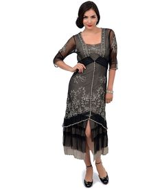 Nataya 1920s or 30s Style Black & Silver Three-Quarter Sleeve Embroidered Tulle Tea Length Dress