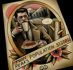 Twin Peaks Tattoo Art Print by ParlorTattooPrints on Etsy