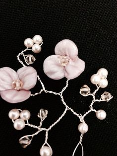 Sterling Silver Wire Hair Wedding Prom Swarovski Crystal and Cream Rose Pearls on Etsy, $52.00