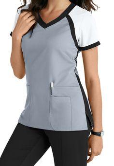 Greys Anatomy 3 Pocket Color Block V-neck Scrub Tops Main Image Más Scrubs Outfit, Scrubs Uniform, Stylish Scrubs, Cute Scrubs, Greys Anatomy Scrubs, Medical Uniforms, Nursing Uniforms, Womens Scrubs, Apron