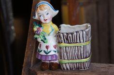 Dutch Girl Figurine Ceramic Planter  Vintage by smileitsvintage