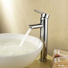 Single Handle Chrome Finished Solid Brass Bathroom Sink Faucet - USD $ 39.99