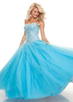 Find Paparazzi by Mori Lee 93006 strapless blue prom dresses available at RissyRoos.com.