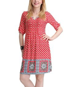 Another great find on #zulily! Red & Gray Dot Notch Neck Shift Dress by Reborn Collection #zulilyfinds