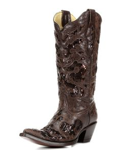Women's Brown Goat Sequin Inlay Boot - A2606