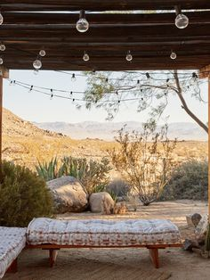 Outdoor daybed at the Joshua Tree Casita, Airbnb, Kate Sears photo