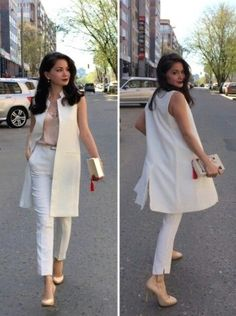 Blazer outfits - Street style for work Sleeveless Blazer Outfit, White Vest Outfit, Long Vest Outfit, Blazer Outfits, Jumpsuit Dress, Vest Outfits For Women, Mode Outfits, Office Outfits, Clothes For Women