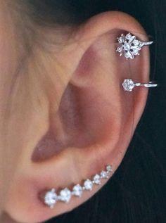 Crystal Earring Climber Flower Snowflake Ear Cuff Cute Ear Piercing Ideas at Crystal Earrings, Silver Earrings, Diamond Earrings, Silver Ring, Drop Earrings, Cute Ear Piercings, Cute Earrings, Statement Earrings, Bridal Jewelry Sets