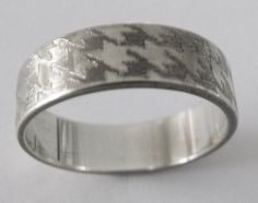Houndstooth Engraved Wedding Band 6mm Wide by EngravedDesigns, $195.00