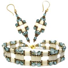 Tila Squared Bracelet and Earrings | Bead-Patterns.com