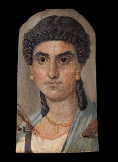 Panel painting of a woman in a blue mantle | Roman Period | 54–68