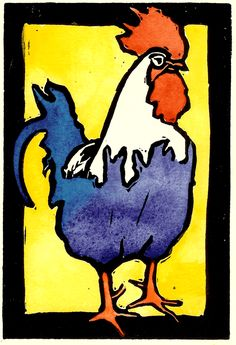 Rooster-on-yellow