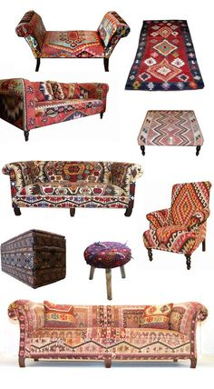 chairs - Kilim Furniture Jungalow by Justina Blakeney Bohemian Furniture, Funky Furniture, Bohemian Decor, Rustic Furniture, Furniture Decor, Office Furniture, Deco Restaurant, Deco Boheme, Moroccan Decor