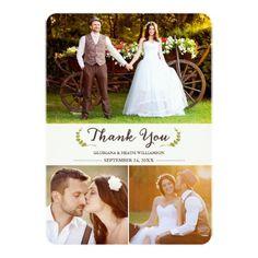Elegant Laurels Wedding Thank You Photo Flat Card