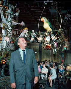 Walt Disney inside The Enchanted Tiki Room at Disneyland. Anaheim,  California