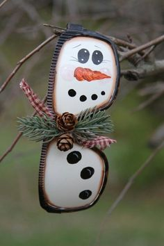 DIY Snowman Ornament made from glasses