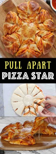 Pull Apart Pizza Star - warm, cheesy and pull apart Pizza! The easiest and fun pizza recipe that can be prepared in 5 minutes and ready in 20 minutes. All you need is only 5 ingredients: refrigerated pizza dough, marinara sauce, shredded mozzarella, egg a Fun Pizza Recipes, Dinner Recipes, Cooking Recipes, Budget Cooking, Party Recipes, Budget Meals, Zone Recipes, Pizza Snacks, Kitchen Recipes