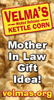 http://velmas.org - Mother in law gift ideas. Kettle corn makes a delicious mother in law gift idea. #mother-in-law #gift #idea #motherinlaw